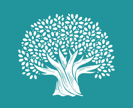 Tree with leaves in decorative style. Nature concept vector illustration