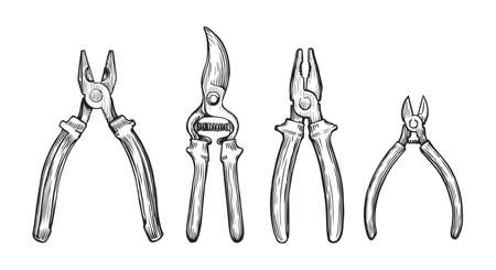 Set of hand drawn tools. Repair concept sketch vector illustration