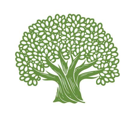 Tree symbol. Decorative oak with leaves vector illustration