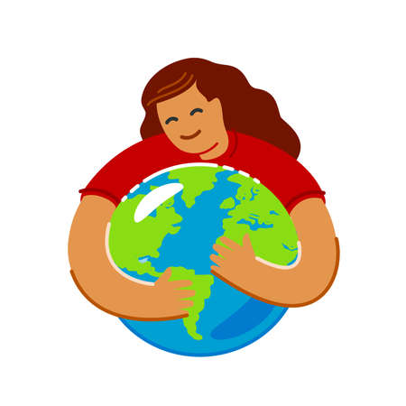 Save green planet environment. Earth Day, ecology concept in flat style