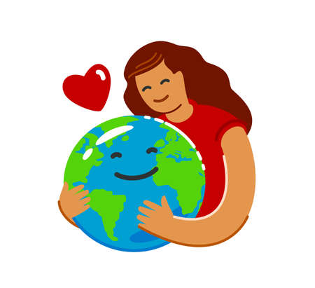Earth Day, ecology concept in flat style. Save green planet environment
