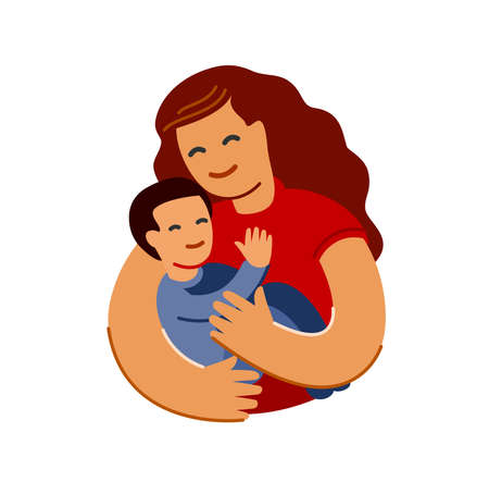 Mother loving hugs little baby. Mothers day, motherhood concept in flat style
