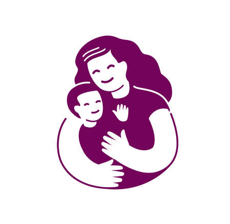 Mom and baby symbol. Motherhood vector illustration Ilustrace