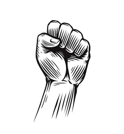 Human clenched fist illustration. Protest, rebel vector revolution