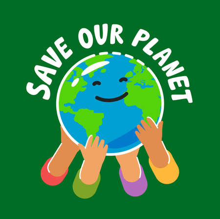 People holding globe. Hands with earth. Ecology concept poster vector illustration
