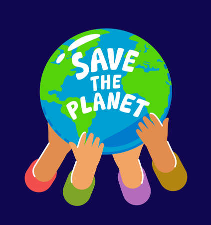 People holding planet Earth. Hands hold globe of world. Environment, ecology, nature conservation concept