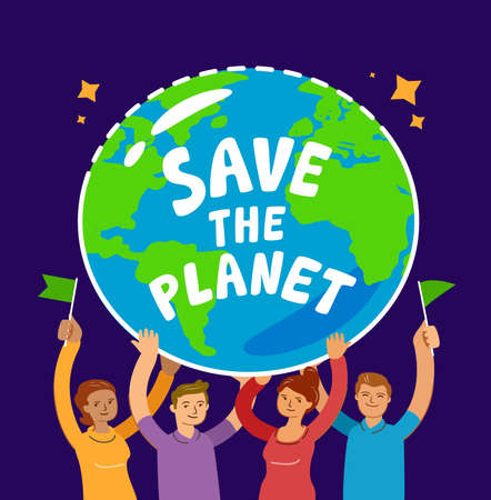People holding planet Earth. Hands hold globe of world. Environment, ecology, nature conservation concept vector illustration