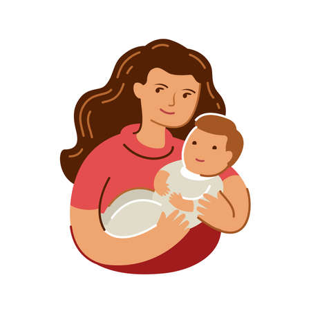 Mom hugs baby. Mothers day, motherhood symbol in flat style