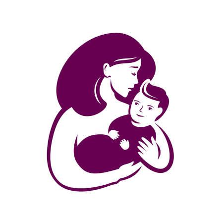 Mom hugs baby symbol. Motherhood vector illustration