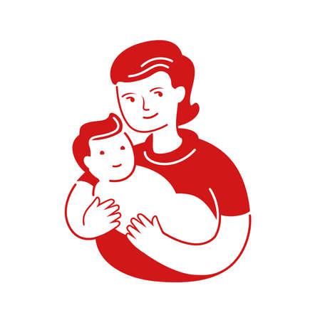 Mother loving hugs little baby. Mothers day, motherhood symbol or logo