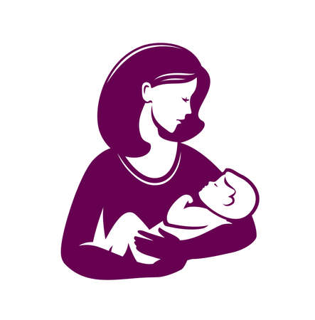 Mother loving hugs little baby symbol. Mothers day, motherhood or logo Vettoriali