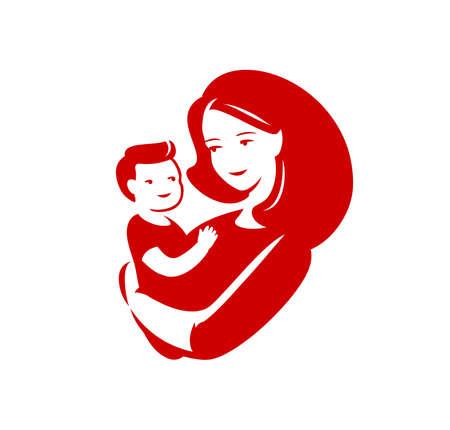 Mother loving hugs little baby symbol.