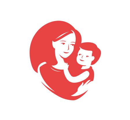 Mother loving hugs little baby logo.