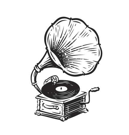 Vintage musical gramophone. Drawn antique phonographe. Music symbol