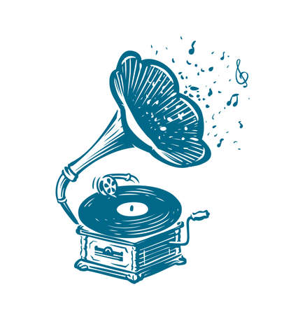 Retro musical gramophone. Drawn vintage phonograph. Musical concept
