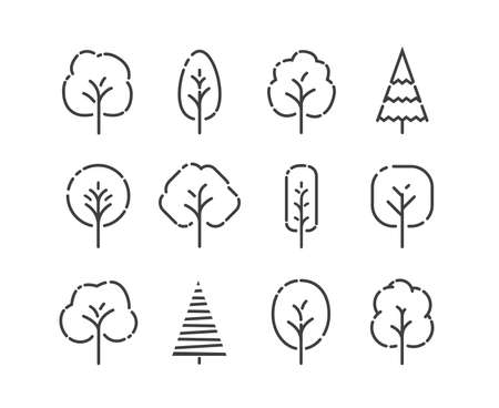 Tree icons set. Nature concept in linear style vector
