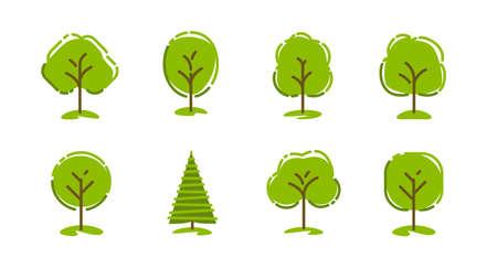 Tree icon set. Nature symbol vector illustration