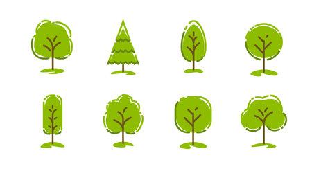 Tree icons set. Ecology concept, nature symbol Vettoriali