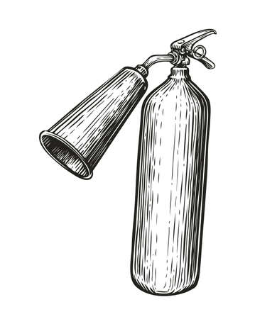 Fire extinguisher in vintage engraving style. Hand drawn sketch vector illustration Vettoriali