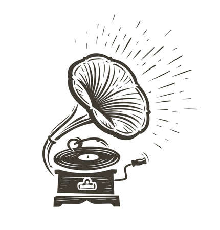Vintage musical gramophone playing a song. Music concept vector illustration Vettoriali