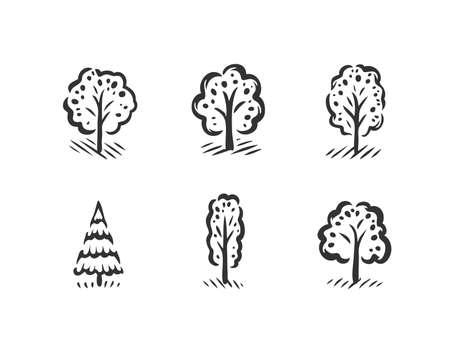 Tree symbol set. Nature concept vector illustration