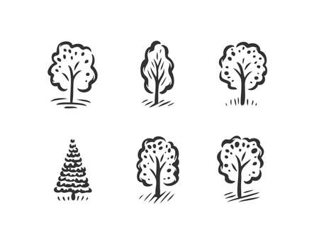 Tree symbol or label set. Nature concept, ecology icon Vettoriali