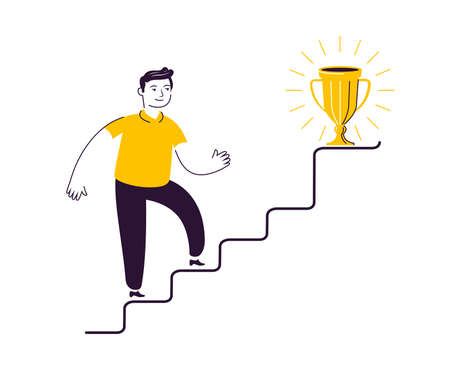Businessman going up the stairs or career growth. Striving for the goal, personal development concept Vettoriali