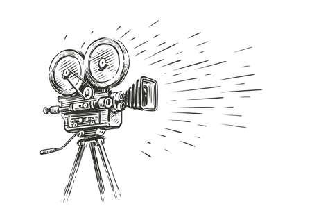 Retro movie camera in vintage engraving style. Screen version, screening sketch vector illustration