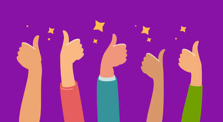 Raised hands thumbs up for success or good feedback. Flat cartoon vector illustration