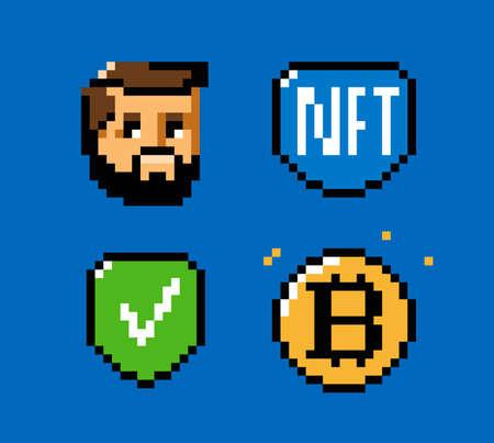 NFT, token, blockchain icon set. Digital currency pixel art vector