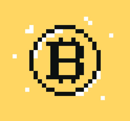 Bitcoin symbol pixel art. Cryptocurrency bitcoin. Digital money logo. Vector illustration