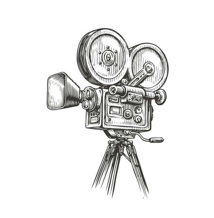 Old fashioned movie film camera sketch. Video production concept vintage vector illustration