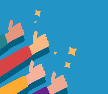 Many people show show a thumb up. Vector illustration of hands showing positive mood