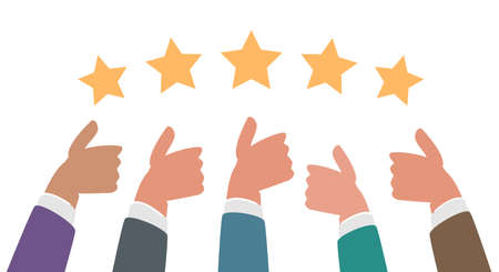 Many thumbs up. Business success concept. Social network likes, feedback vector flat illustration