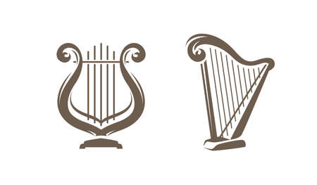Musical harp, lyre symbol or logo. Classical music concept vector illustration