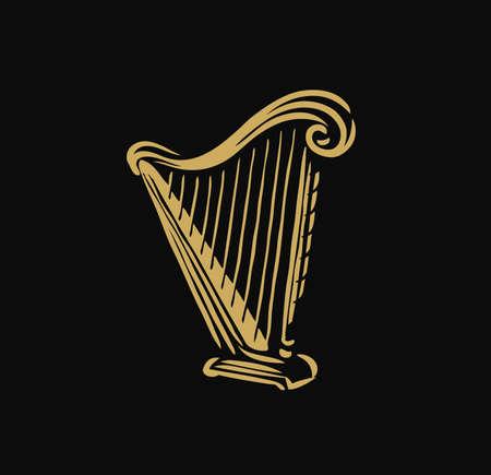 Musical harp, lyre symbol. Classical music logo vector illustration Vettoriali