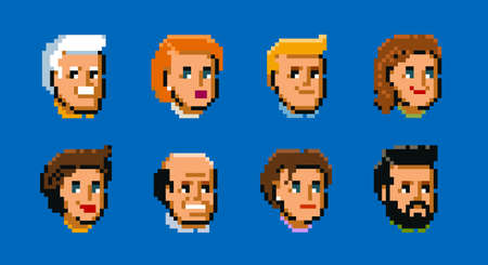 People, male and female faces avatars. Pixel art style vector icons set vector illustration