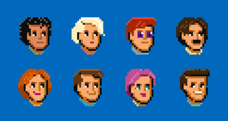 Set of diverse male and female avatars, simple flat cartoon in style pixel art. Cute and minimalistic people faces, icons