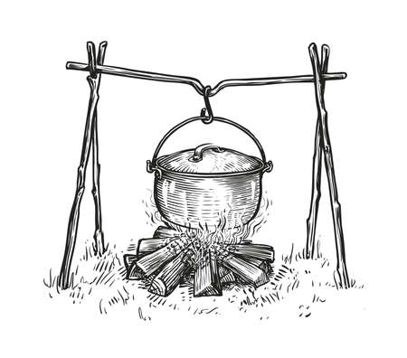 Pot on campfire sketch. Cooking in a cauldron on flame. Hand drawn vector illustration Vettoriali
