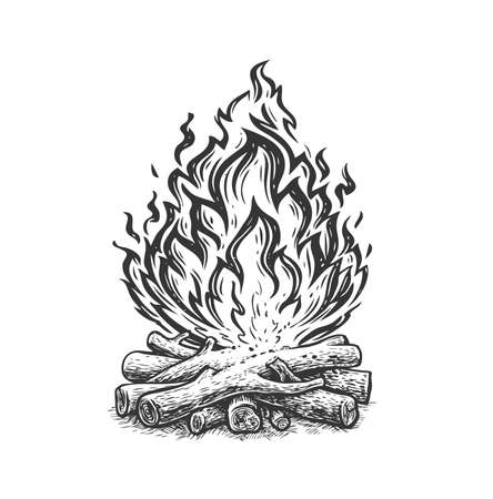 Campfire sketch. Fireplace, flame and firewood burning hand drawn vintage vector illustration