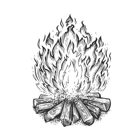 Hand drawn bonfire. Flame and burn firewood, fireplace sketch vector illustration