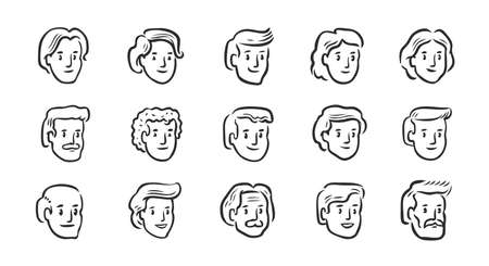 Set of avatar icons. Hand drawn portraits of different people. Symbols vector illustration