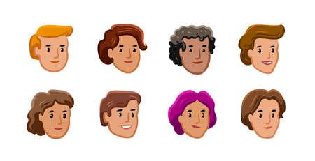 People icons set. Male and female faces avatars. Cartoon vector illustration Vettoriali