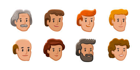 People icons. Male and female faces avatars in flat style. Vector illustration