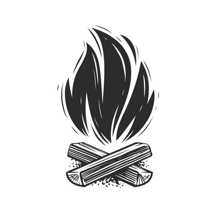 Campfire symbol. Fireplace, flame and firewood burning. Vector illustration