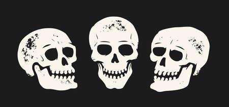 Grunge skull set. Skeleton symbol vector illustration