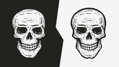 Human skull sketch. Hand drawn vector illustration in engraving style Vettoriali