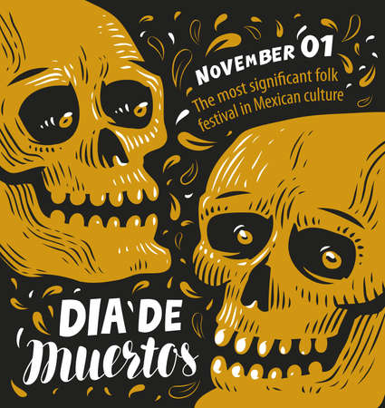 Day of the dead poster, Mexican sugar skull vector illustration