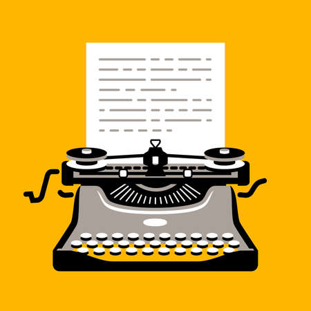 Retro typewriter with sheet of paper. Flat design style modern vector illustration