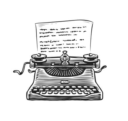 Retro typewriter with sheet of paper sketch. Hand drawn vintage vector illustration Vettoriali